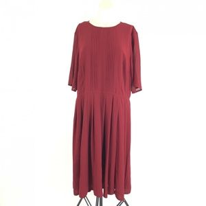 eShakti Plus Size 2X Red Slit Front Dress
